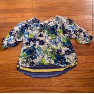 Anthropologie Fig and Flower Floral Blouse